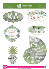 Kappa Delta Sorority Stickers- Water Color