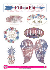 Pi Beta Phi Sorority Stickers- Water Color