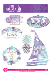 Sigma Sigma Sigma Tri-Sigma Sorority Stickers- Water Color