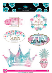 Zeta Tau Alpha ZTA Sorority Stickers- Water Color