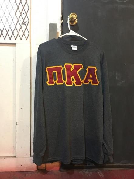 Pi Kappa Alpha PIKE Fraternity Long Sleeve Shirt- Charcoal Heater