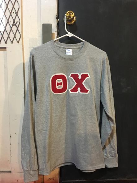 Theta Chi Fraternity Long Sleeve Shirt- Light Sports Gray