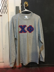 Chi Phi Fraternity Long Sleeve Shirt- Light Sports Gray