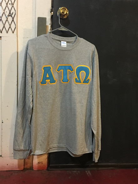 Alpha Tau Omega ATO Fraternity Long Sleeve Shirt- Light Sports Gray