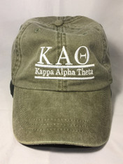 Kappa Alpha Theta Sorority Hat- Olive Green