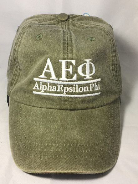 Alpha Epsilon Phi AEPHI Sorority Hat- Olive Green
