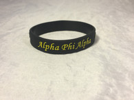 Alpha Phi Alpha Fraternity Silicone Bracelet- Black