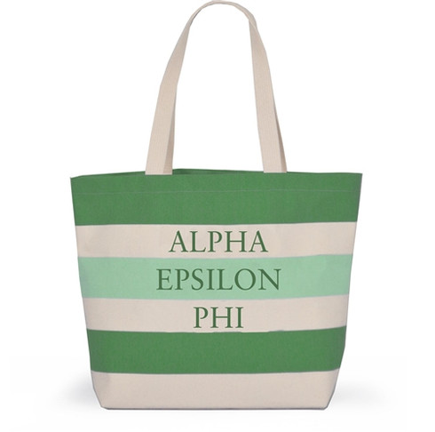 Alpha Epsilon Phi AEPHI Sorority Tote with Stripes