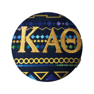 Fabric Button Inspiration- Blue Tribal Print Metallic Gold