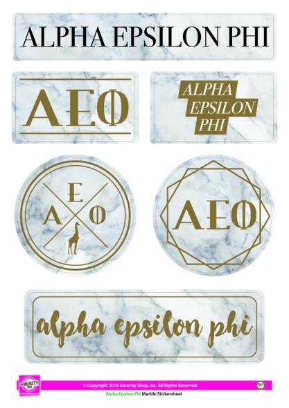 Alpha Epsilon Phi AEPHI Sorority Stickers- Marble