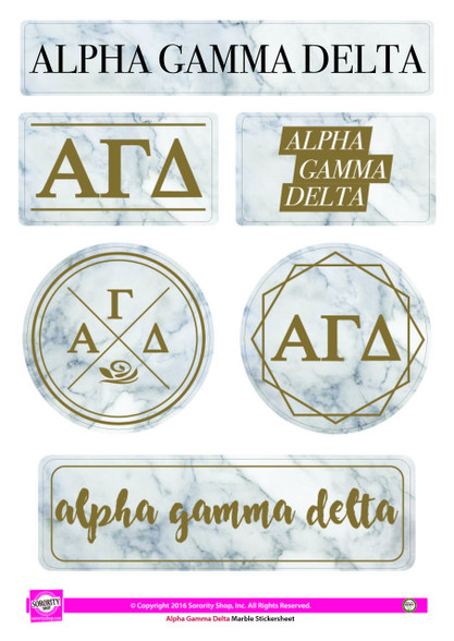 Alpha Gamma Delta Sorority Stickers- Marble