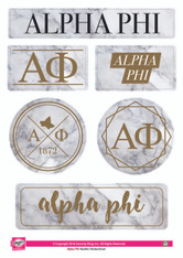 Alpha Phi Sorority Stickers- Marble