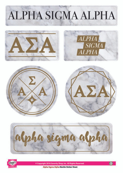 Alpha Sigma Alpha Sorority Stickers- Marble