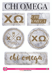 Chi Omega Sorority Stickers- Marble