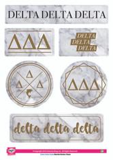 Delta Delta Delta Tri-Delta Sorority Stickers- Marble