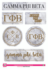 Gamma Phi Beta Sorority Stickers- Marble