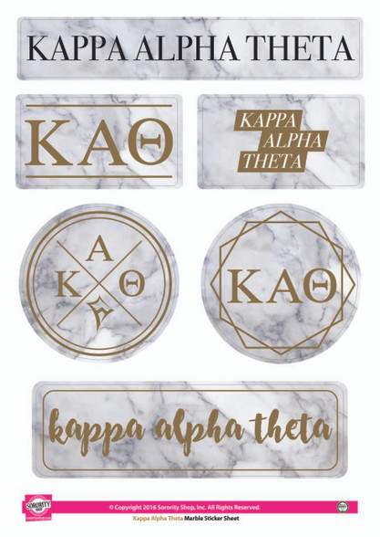 Kappa Alpha Theta Sorority Stickers- Marble