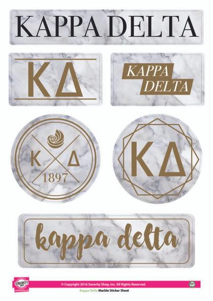 Kappa Delta Sorority Stickers- Marble