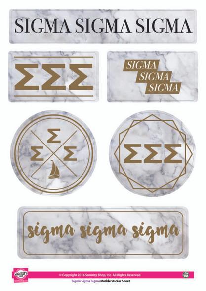 Sigma Sigma Sigma Tri-Sigma Sorority Stickers- Marble