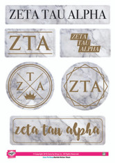 Zeta Tau Alpha ZTA Sorority Stickers- Marble