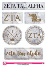 Zeta Tau Alpha ZTA Sorority Stickers- Marble