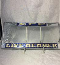 "Sigma Gamma Rho Sorority ""Life Member"" License Plate Frame-Blue/Gold"