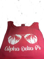 Alpha Delta Pi ADPI Sorority Sunglass Tank Top- Crunchberry