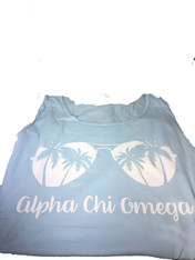Alpha Chi Omega Sorority Sunglass Tank Top- Chambray