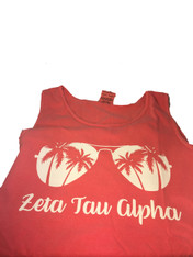Zeta Tau Alpha ZTA Sorority Sunglass Tank Top- Watermelon