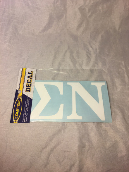 Sigma Nu Fraternity White Car Letters- 3 1/2 inches