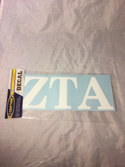 Zeta Tau Alpha ZTA Sorority White Car Letters- 3 1/2 inches