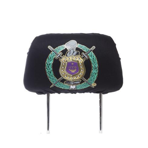 Omega Psi Phi Fraternity Headrest Cover- Black- Set of 2