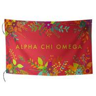 Alpha Chi Omega Sorority Floral Flag-Style 2