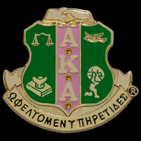Alpha Kappa Alpha AKA Lapel Pin with Crystal Stones