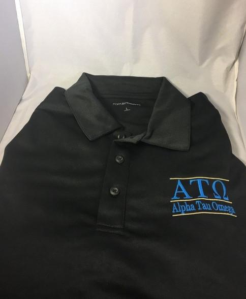 Alpha Tau Omega Fraternity Dri-Fit Polo- Black