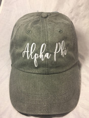 Alpha Phi Sorority Script Hat- Charcoal