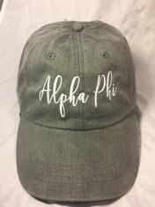 Alpha Phi Sorority Script Hat- Charcoal