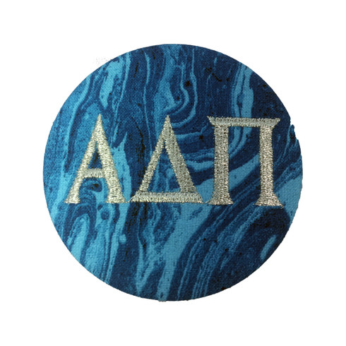 Alpha Delta Pi ADPI Blue Marble Button with Metallic Silver Writing
