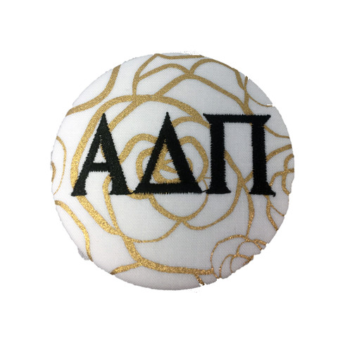 Alpha Delta Pi ADPI Sorority Gold Rose Button with Black Writing