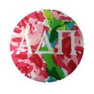 Fabric Button Inspiration- Floral Fabric with White Writing