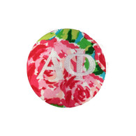 Alpha Phi Sorority Floral Fabric Button with White Writing
