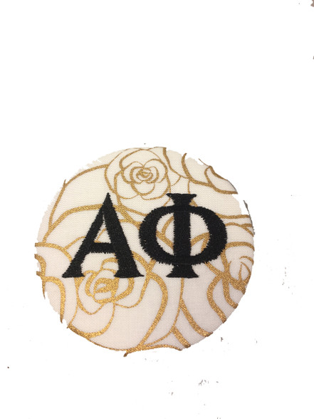 Alpha Phi Sorority Gold Rose Button with Black Writing