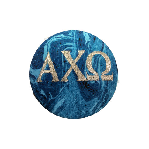 Alpha Chi Omega Sorority Blue Marble Button with Metallic Silver Writing
