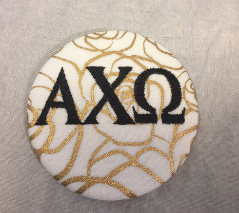 Alpha Chi Omega Sorority Gold Rose Button with Black Writing