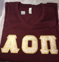 Shirt Inspiration Maroon Double Stitched Letter V-Neck Shirt – Gold Rose