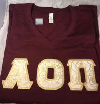 Shirt Inspiration Maroon Double Stitched Letter V-Neck Shirt – Gold Rose