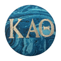 Kappa Alpha Theta Sorority Blue Marble Button with Metallic Silver Writing