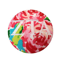 Zeta Tau Alpha ZTA Sorority Floral Fabric Button with White Writing