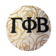 Gamma Phi Beta Sorority Gold Rose Button with Black Writing