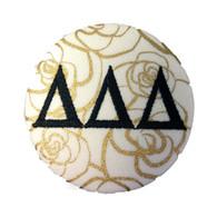 Delta Delta Delta Tri-Delta Sorority Gold Rose Button with Black Writing